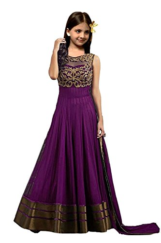S R Fashion Girls Purple Soft Net Semi-Stiched Embroidered Shalwar Suit With...