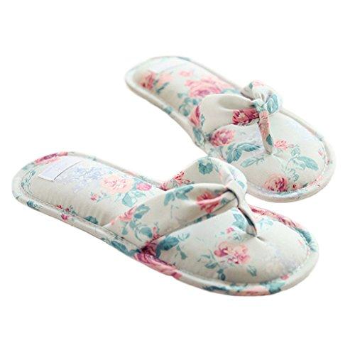 Fortuning's JDS Le donne delle ragazze delle signore floreali di cotone Pantofole Infradito flatform aperto Sandali dita dei Verde