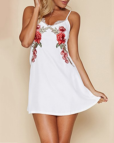 Damen Drucken Beiläufige Kleider Ärmelloses Cocktail Kurzes Minikleid Strandkleid Halfter Kleid Nachthemd Weiß