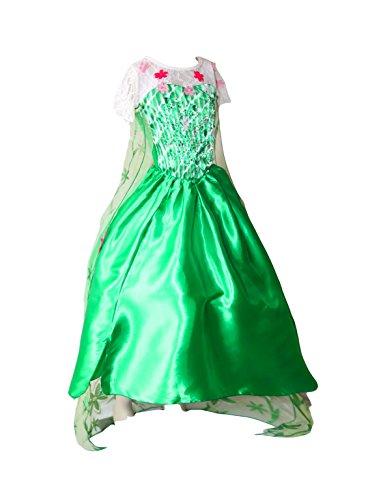 en Fever Elsa Kostüm Kleid Dress Prinzessin Grün (134/140) (Elsa Frozen Kostüm Fever)