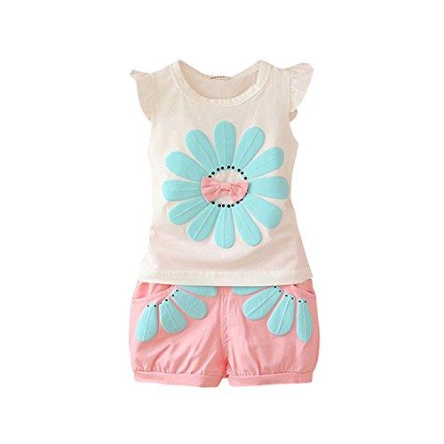 Minetom Bekleidungssets für Kleinkind Kinder Baby Mädchen Sommer Niedlich Outfit Kleidung T-shirt Tops Bluse+ Shorts Hosen Mädchen Kleidung Set Pink 02 90 (Findet Nemo Shirt Kleinkind)