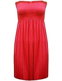 FASHION BOUTIQUE - Robe Bandeau Modèle Femme 36-48 - SML/MED (36-38), Rouge