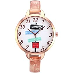 JSDDE Women's Slim Leather Band Rose Gold Case Indicator Wrist Watch Casual Light Brown
