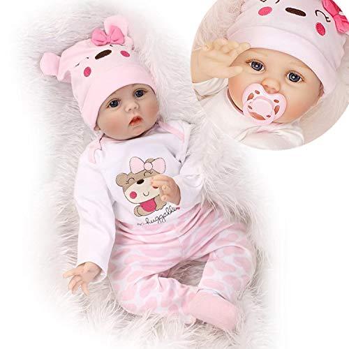 ZIYIUI Lebensechte Reborn Babys Puppe Reborn Babypuppen Mädchen Silikon Dolls Kinder Spielzeug Geschenk 55 cm