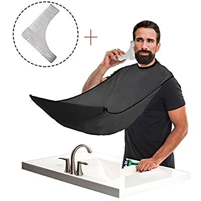 IUQY Beard Styling | Beard Shaping Template & Beard Bib Catcher, Shaping Template Comb Tool For Line up & edging - Beard Catcher Apron for Shaving Man Groomer Gift from IUQY