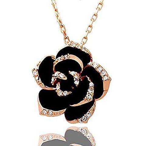 VIKI LYNN - Collier Femme - Camélia - Plaqué 18K Or Rose Seti de Tchèque Diamant - Noir et Or - Taille 45-50 cm