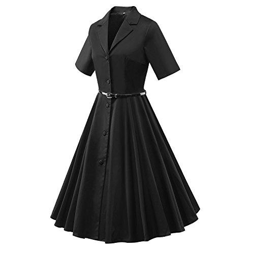 iLover 40s 50s 60s Vintage kurze Ärmel Button Robe de Cocktail Style Audrey Rockabilly Robes de swing Noir