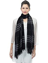 Anekaant Checkered Viscose Fringed Stole (50x200 cm)