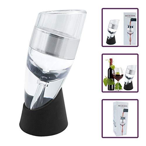 FosFun Aérateur de Vin avec Support Anti-Gouttes Décanteur à vin en édition Sommelier avec Coupe Sublimez Vos vins préférés instantanément (FSD02)