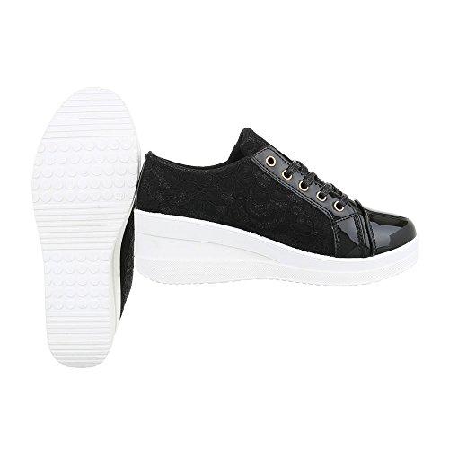 Low-Top Sneaker Damenschuhe Low-Top Keilabsatz/ Wedge Schnürer Schnürsenkel Ital-Design Freizeitschuhe Schwarz