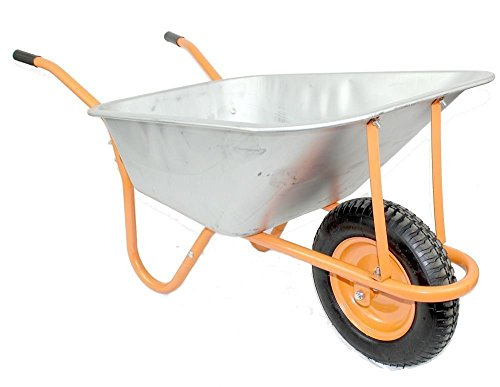 New DJM Heavy Duty Galvanised Steel Garden Wheelbarrow 90ltr 180kg - Pneumatic Tyre - This heavy duty wheel barrow by DJM is ideal for moving heavy items around the home, garden and is even suitable to be used as a builders barrow for lighter work.
