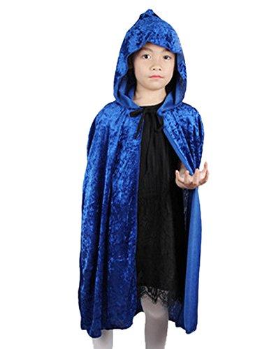 Deley bambini costume di halloween ragazze di velluto con cappuccio mantello del capo masquerade cosplay accessori blu