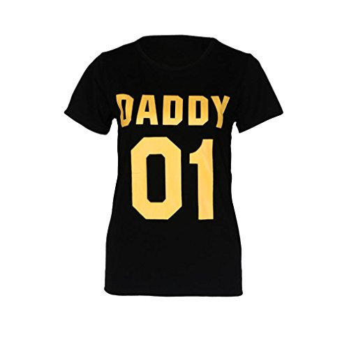 FEITONG Familie Daddy Mommy Baby Sommer Rundhals Letter Printing Kurzarm Bluse Tops T-Shirt (M-Daddy, Schwarz(Daddy-01)) (Velour Pant Krone)