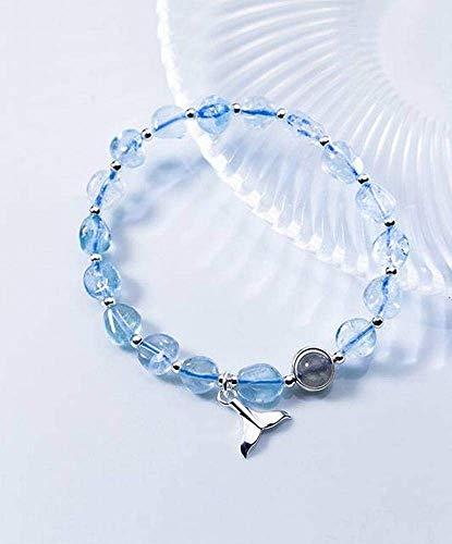 Ibuprofen Armreifen Armbänder S925 Silber Armband Weibliche Meerjungfrau Schwanz Aquamarin Kristall Armband Frauen Armband - Aquamarin Seife