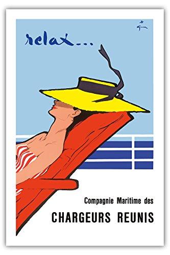 Entspannen Sie sich ... - Compagnie Maritime des Chargeurs Réunis (Maritime Gesellschaft von Großverladern) - Frankreich - Alte Ozeandampfer Reise Plakat Poster von Rene Gruau c.1950s - Premium 290gsm Giclée Kunstdruck - 61cm x 91cm