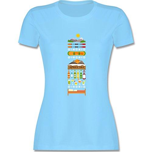 Après Ski Apres Ski Tag tailliertes Premium TShirt mit Rundhalsausschnitt  für Damen Hellblau