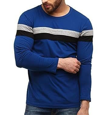 GRITSTONES Men's Cotton Full Sleeves Blue Round Neck T-Shirt GSFS767INDGRYBLK-S(38)