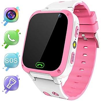 MeritSoar Tech Smartwatch para Niños - LBS Tracker Smartwatch niños niñas con Llamada SOS Voice Chat Despertador Linterna Juego de cámara para niños ...