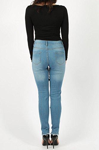 Damen Frayed Hem Fishnet Skinny High Taille Jeans EUR Größe 34-42 Hellblau