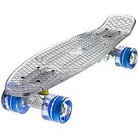 "Ridge Skateboards Blaze Mini Cruiser - Skateboard, Color Transparente (Transparent White Deck/Blue LED), Talla 22-"""