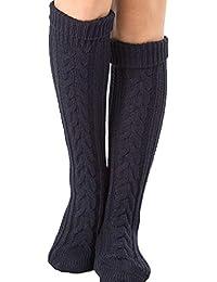 oobest Cable de mujer Punto largo de bota Calcetines de media Bloque de lana caliente Mezcla