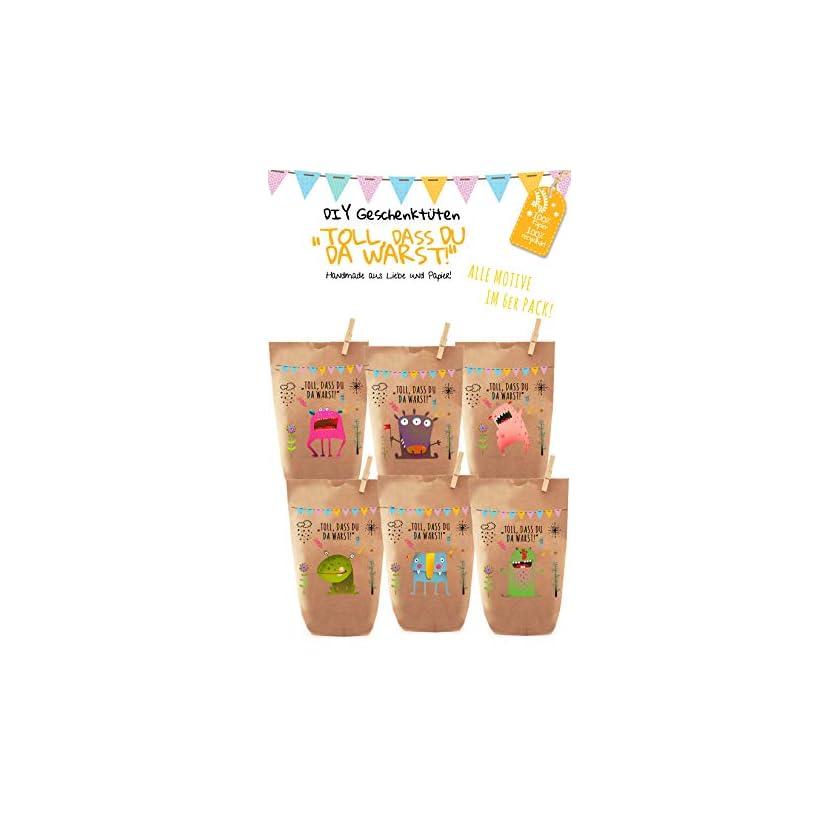 6x bunte Monster Geschenktüten/Papiertüten, Tüten liebevoll bedruckt aus Kraftpapier, zum Verpacken von Geschenken, Gastgeschenken, Mitgebsel, Giveaways, Kindergeburtstag, Halloween. 100% recyclebar! 1