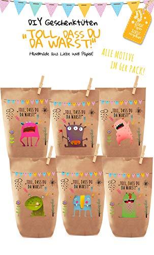 6x bunte Monster Geschenktüten/Papiertüten, Tüten liebevoll bedruckt aus Kraftpapier, zum Verpacken von Geschenken, Gastgeschenken, Mitgebsel, Giveaways, Kindergeburtstag, Halloween. 100% recyclebar!