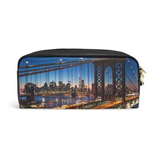 Domoko New York City Manhattan Nacht PU Leder Pen Pouch Federmappe Fall Make-Up Kosmetik reisen Schule Tasche (City York Handtaschen New)