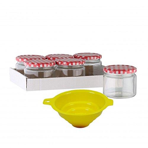 - 6 x Marmeladenglas / Einmachglas 330 ml mit Deckel, Twist-off Gläser Set rund - als Einweckgläser, Vorratsdosen etc. verwendbar (inkl. Trichter) (Kleine Kunststoff-gläser Mit Deckel)