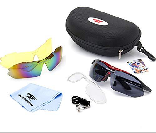 YanFa Sunglasses Weiblich, Sonnenbrille, draußen, Sport, DREI Gruppen von Linsen, Farbe = Fahren, gelb = Nacht, schwarz = Angeln, roter Rahmen, S00112