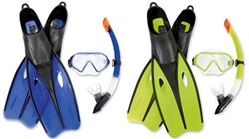 Edles Tauchset Dream Schwimmflossen Taucherbrille und Schnorchel Gr. 38- 44 (S 38-39, blau)