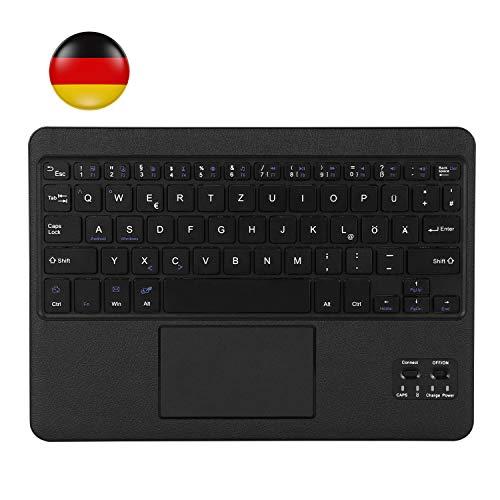 AGPTEK QWERTZ Bluetooth Tastatur, Kabellose Tastatur mit Touchpad und integriertem Akku, leicht, tragbar und robust, ultraflache Laptop Tablet Tastatur für Android und Windows (schwarz) -