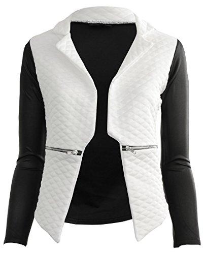 Gracious Girl - Jaqu Femmes Chute d'eau matelassé contraste pleine de dames de douille de veste de blazer manteau Crème