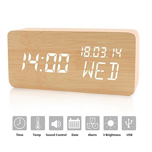 LED Digital Wecker, Modern Hölzerne Wecker Uhr mit Uhrzeit/Datum/Woche/Temperatur Anzeige, 12/24H und 3 Einstellbare Helligkeit, Hohe Qualität Holz Wecker mit 3 Weckzeiten (Holz Anzeigen)