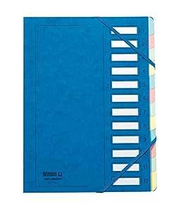 Extendos Mon Dossier Trieur en carte forte vernie 12 compartiments Bleu