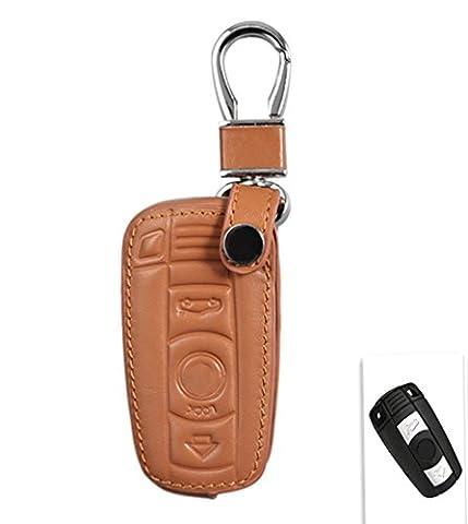Happyit Auto Echtes Leder Intelligente Schlüsselkastenabdeckung für BMW 1/5/6 / 7series M3 M5 X1 X3 X5 X6 E36 E39 E46 E30 E60 Fernsteuerungszusätze (Braun)