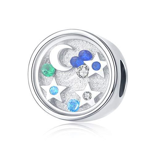 Charm-Anhänger für Pandora-Charm-Armband, 925er Sterlingsilber, leuchtender Mond und Stern, runde Perlen, Anhänger