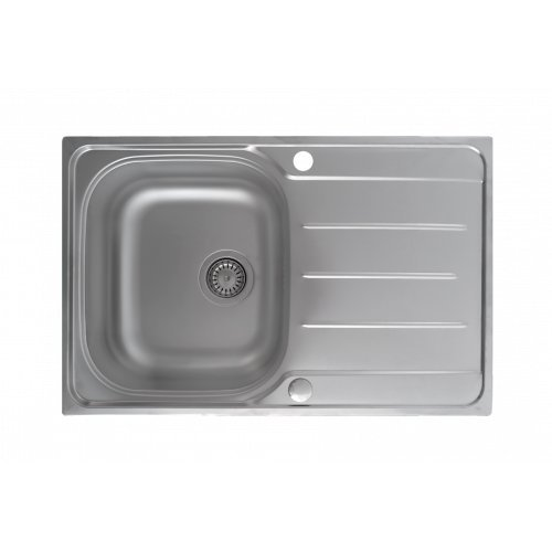 Einbauspüle mit Abtropffläche Mizzo Design Supremo 790 | Auflagespüle Passend ab 45er Unterschrank | Edelstahlspüle Außenmaße 790 x 500 mm | Küchenspüle