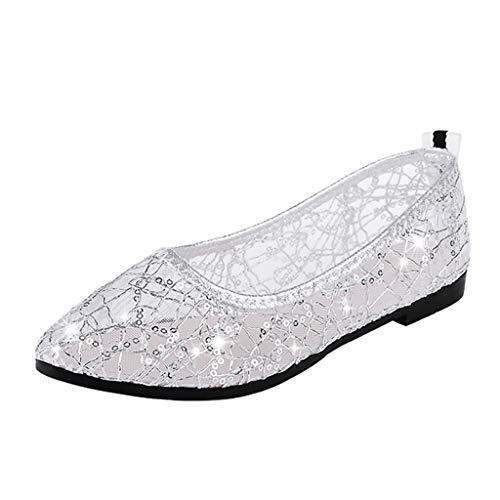 Btruely Damen Schuhe Flache Sommer Sandalen Casual Ballerina Schuhe Mary Janes Arbeitsschuhe Erbsenschuhe Gold Thong Schuh
