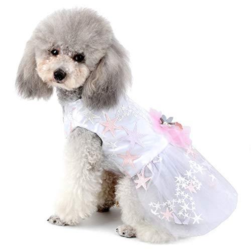 Pet Hochzeit Kleid für kleine Hunde Mädchen Blumen Sterne Tüll Tutu Rock Puppy Kleidung YAWJ (Color : White, Size : XL) (White Kleinen Mädchen Rock)