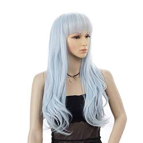 Perücke Kopfbedeckung Lange Haare locken Fantasie blaue Farbe 13-53cm
