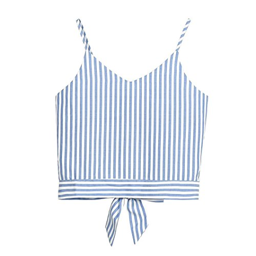 Kobay Women Camisole Tops, Ladies' Self Tie Back V Neck Stripe Floral Crop Tank Blouse Summer