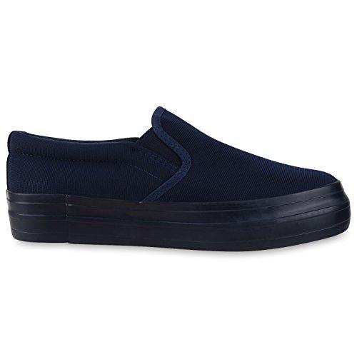 Modische Damen Sneakers | Bequeme Slip-ons| Funkelnde Glitzerapplikationen | Angesagte Plateausohle | Gr. 36-41 Blau Blau