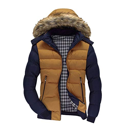 Xmiral Men Daunenjacke Casual Warme Kapuze Winter Patchwork Zipper Outwear Jacke (M,Gelb)