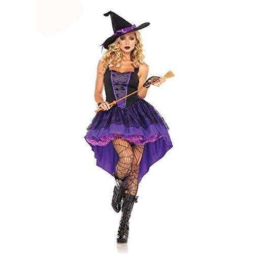 Fashion-Cos1 Sexy lila Hexe Cosplay Schwalbenschwanz Kleid Halloween Anime Kostüm Outfit Anzug