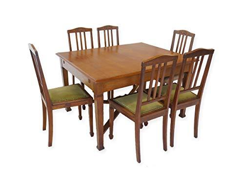 Essgruppe Tischgruppe Esstisch + 6 Stühle Antik um 1920 aus Eiche massiv (8753)