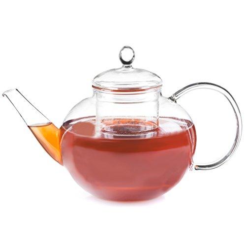 Dimono Jumbo Teekanne XXL Borosilikat-Glas mit Tee-Filter/Sieb - Schöne Design Glaskanne 1500ml