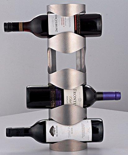 Disha Brush Steel Wine Bottle Holder, Brush Steel