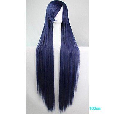 HJL-Anime Cosplay perruque bleu 100 cm de long cheveux raides de fil ¨¤ haute temp¨¦rature sombre , blue