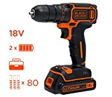 BLACK+DECKER BDCDC18BAFC-QW Perceuse visseuse sans fil - 18V - 1,5 Ah - 2 batteries -...